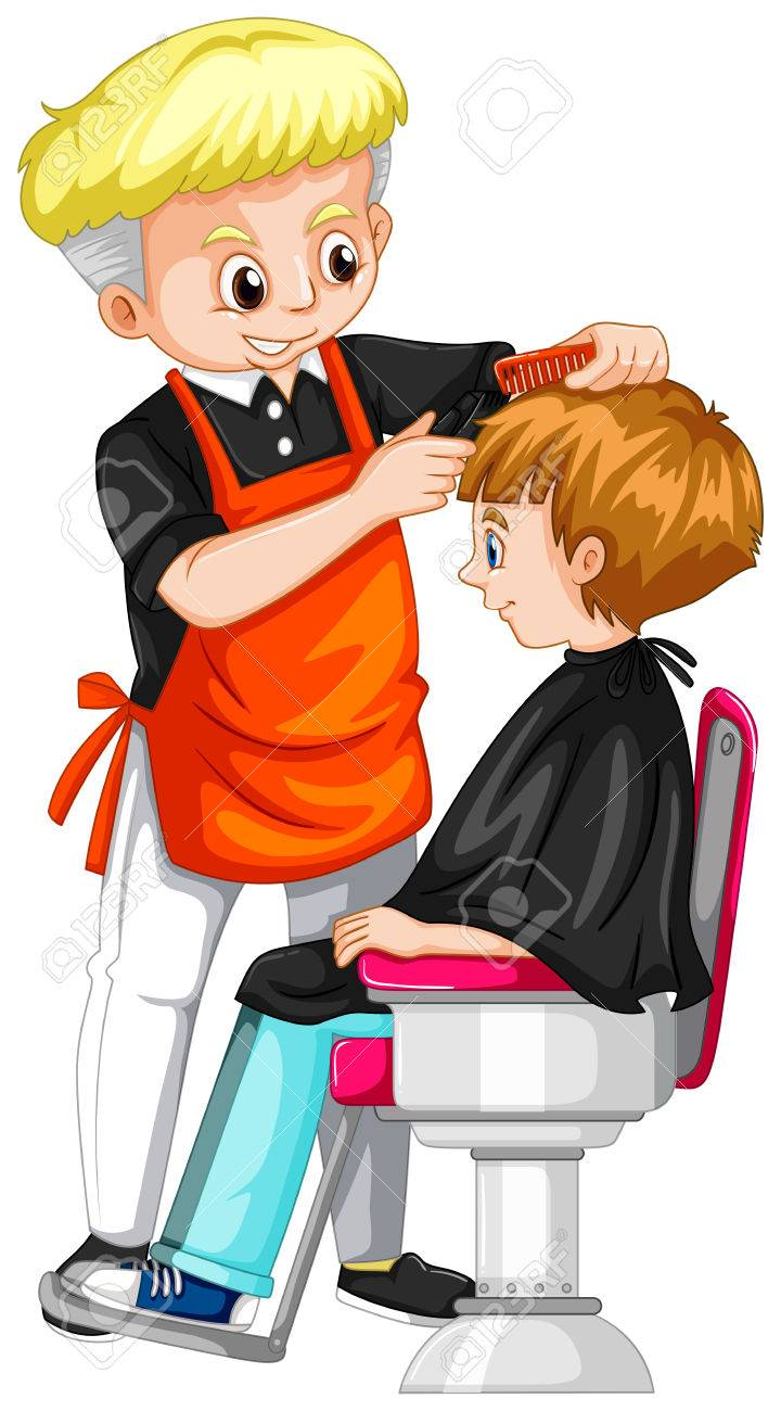 little boy getting haircut at barber illustration royalty free rh 123rf com barber clipper blades barber clippers