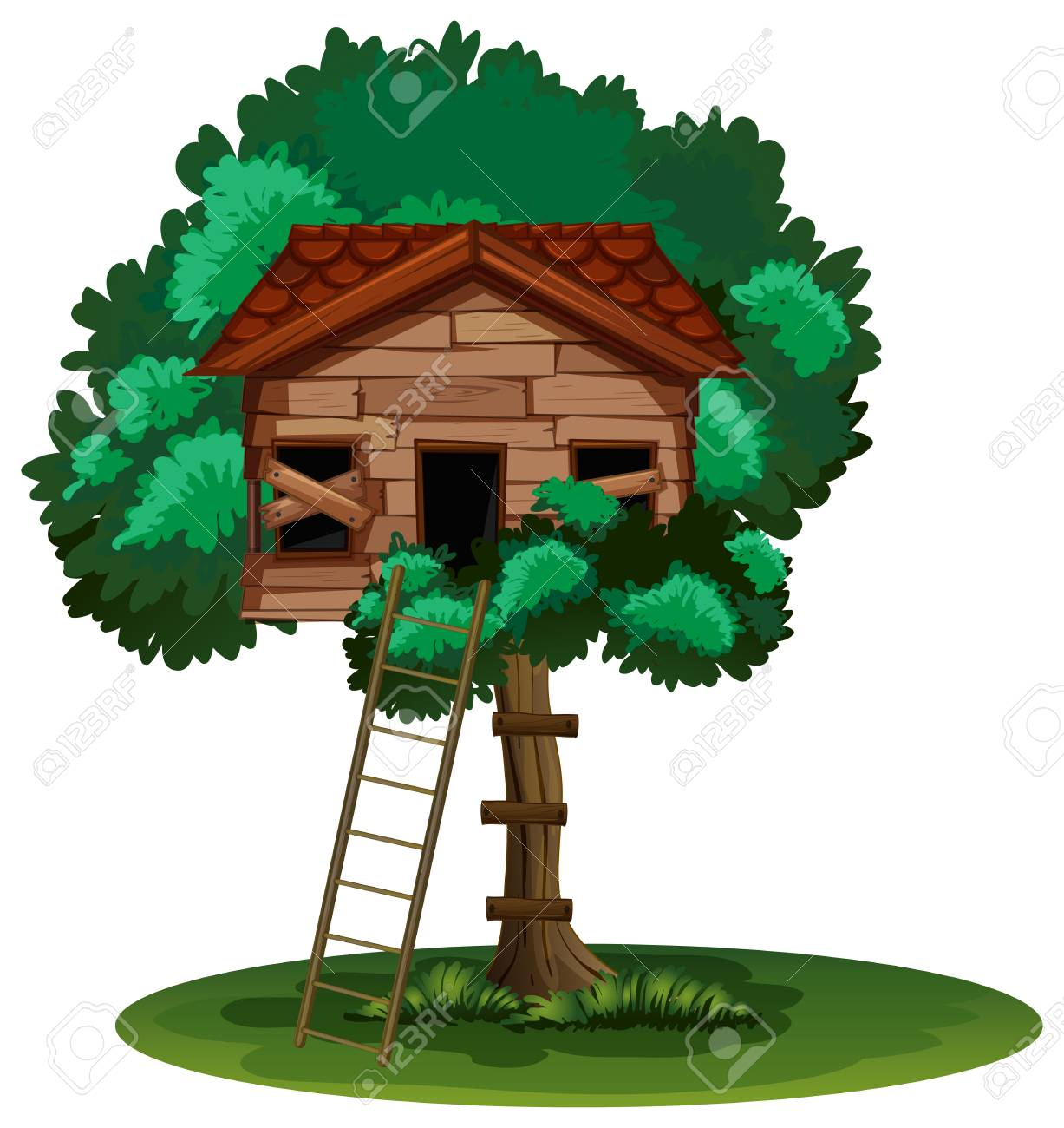 old treehouse on the tree illustration royalty free cliparts rh 123rf com