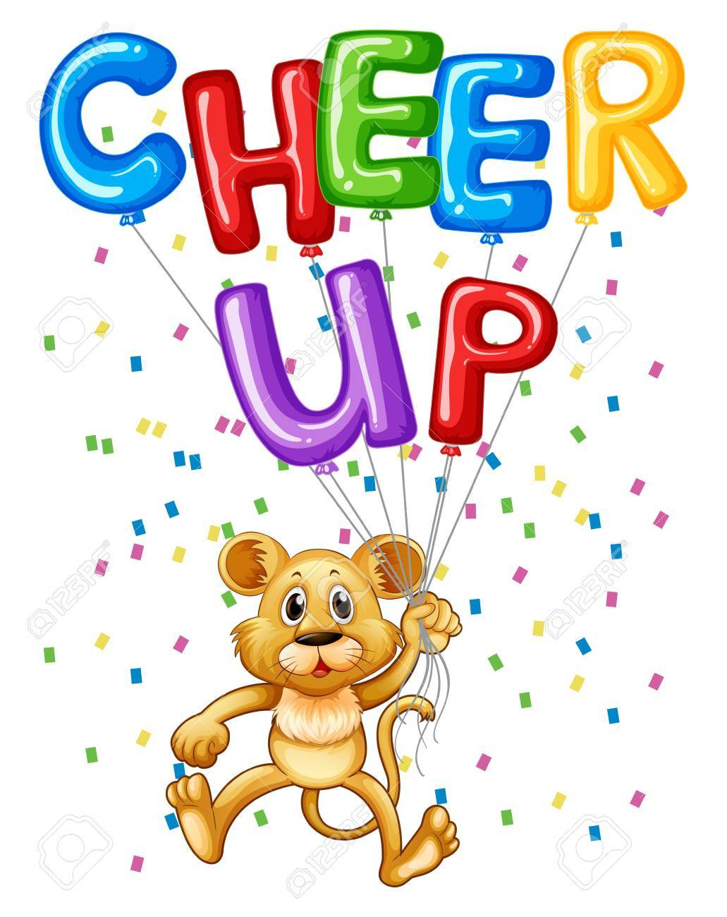 cute lion cub with balloons and word cheer up illustration royalty rh 123rf com cheer up clipart free cheer up clipart free