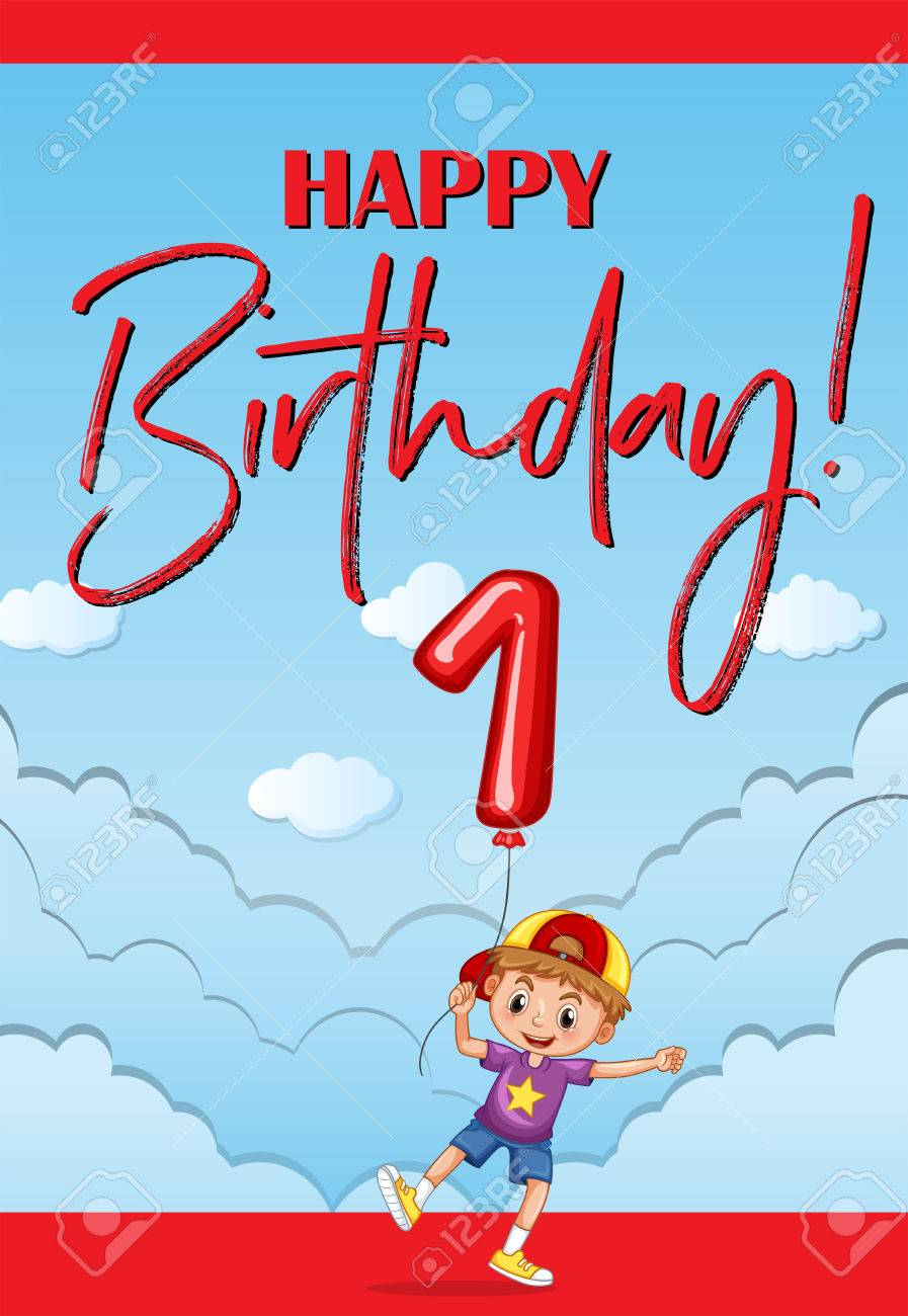 Happy Birthday Card For One Year Old Boy Illustration Stock Vector