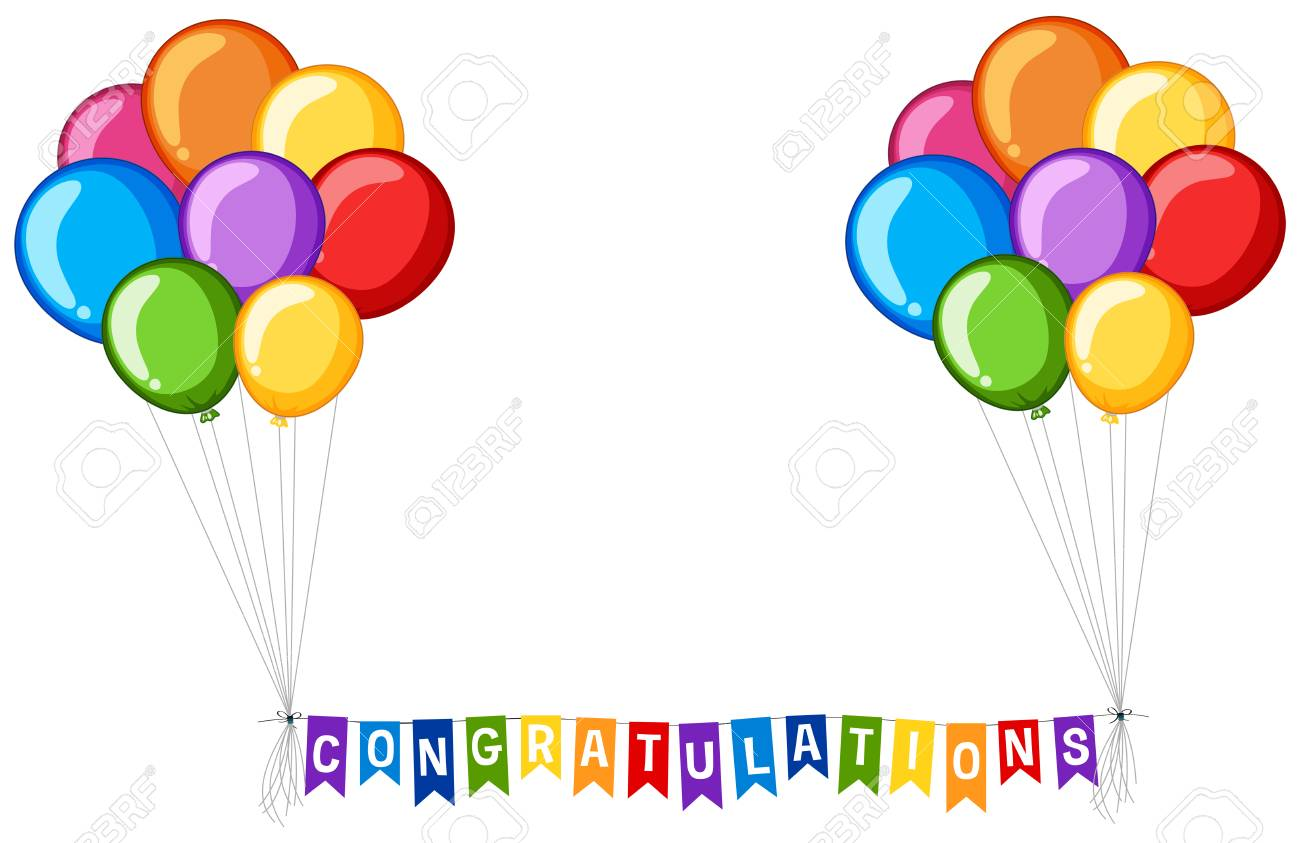 background design with balloons and word congratulations