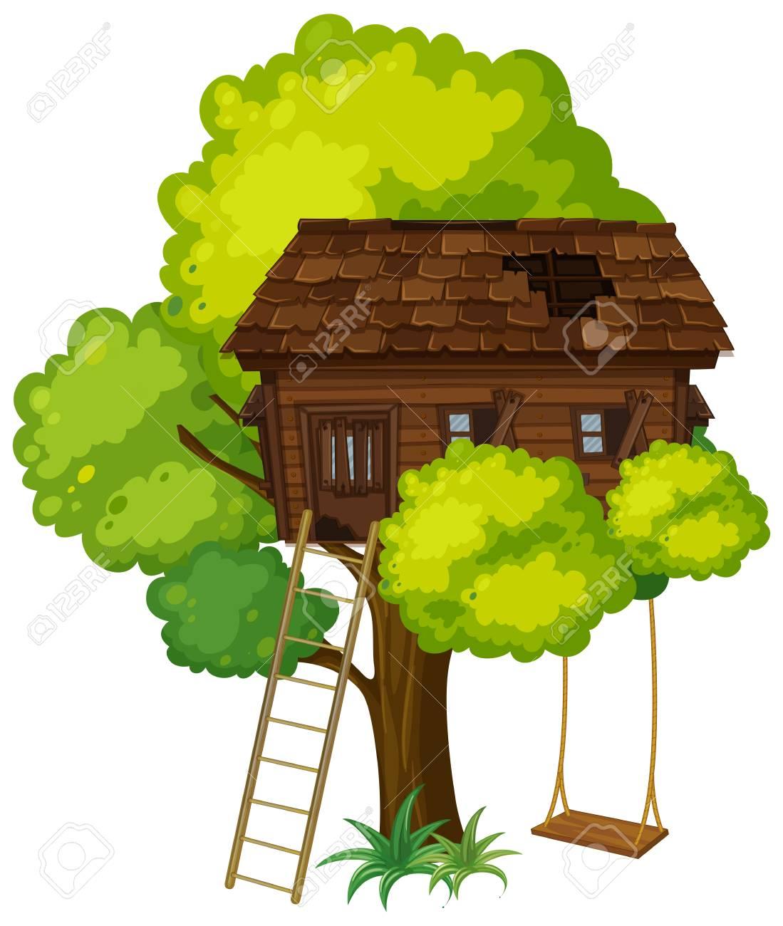 treehouse with swing on the tree illustration royalty free cliparts rh 123rf com Magic Tree House tree house clip art free