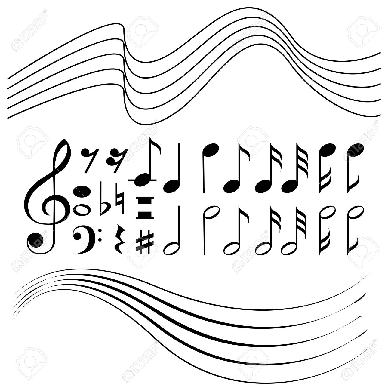 Different symbols of music notes and line paper illustration different symbols of music notes and line paper illustration stock vector 86996841 buycottarizona Choice Image