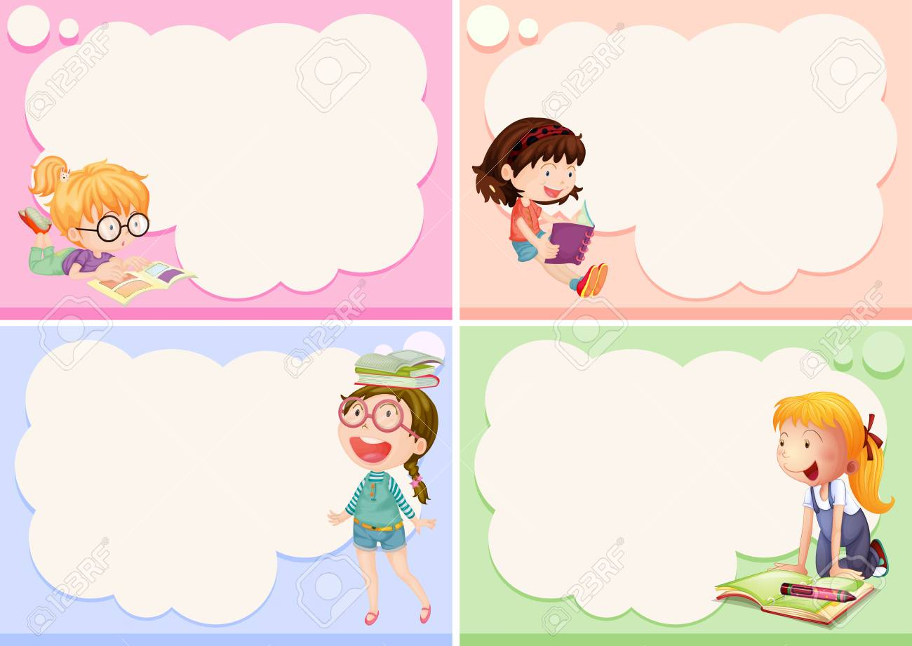 Four Frames With Happy Girls Illustration Royalty Free Cliparts ...