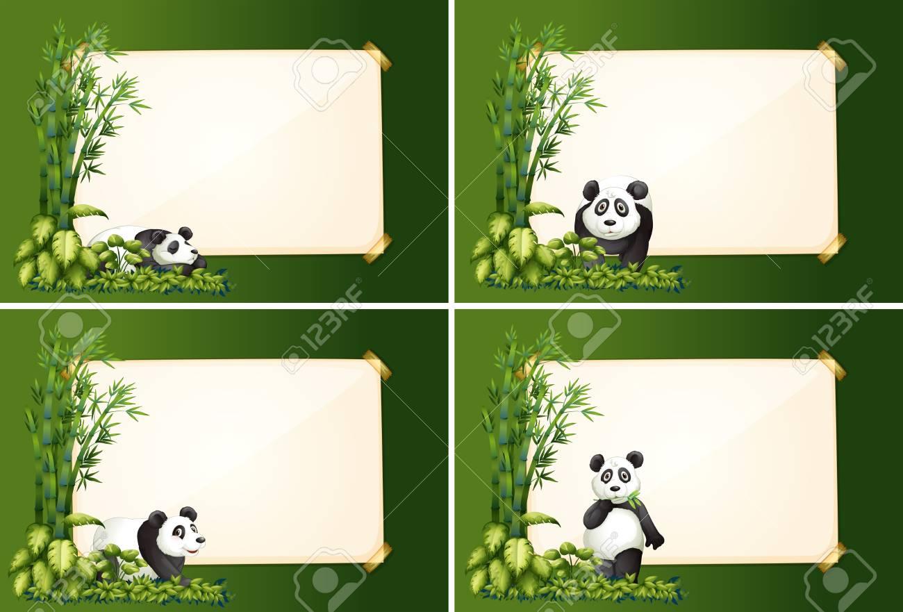 Cuatro Plantillas De Borde Con Ilustración De Panda Y Bambú ...