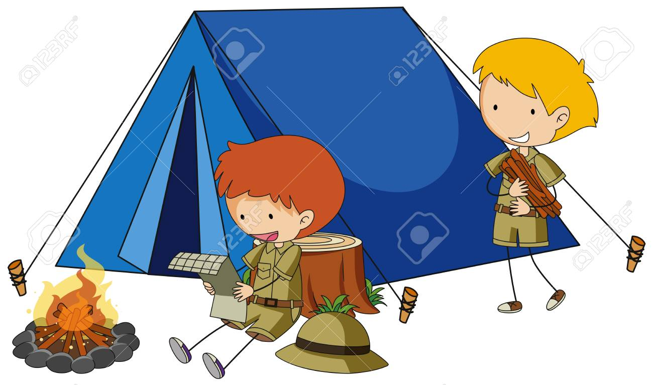 Two boys camping out illustration. - 91332168