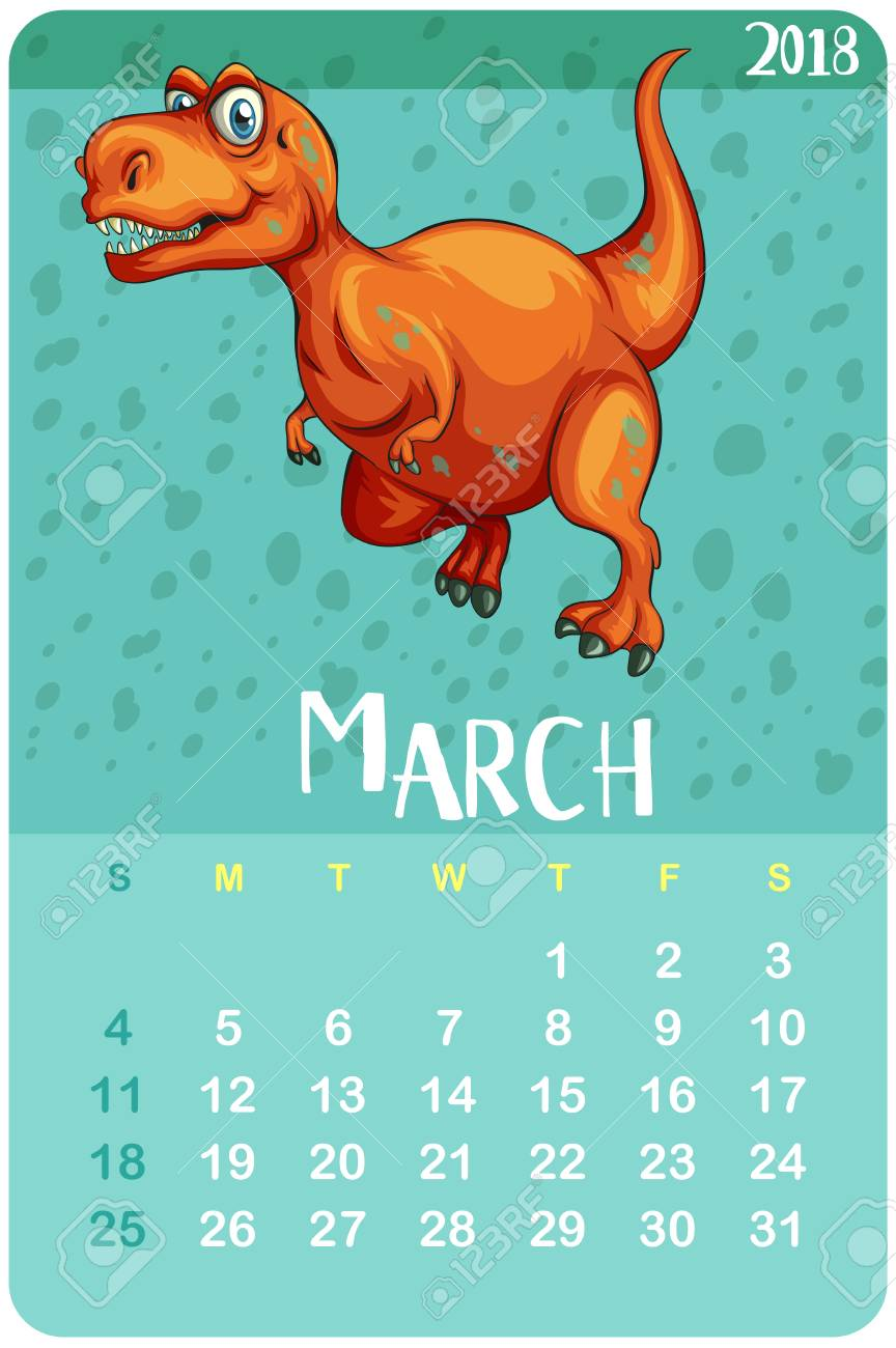 calendar template for march with t rex illustration royalty free