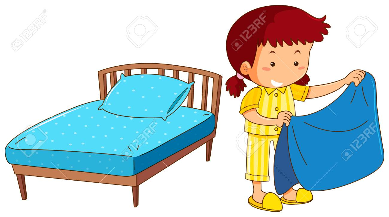 girl making bed on white background illustration royalty free rh 123rf com child making bed clipart kid making bed clipart