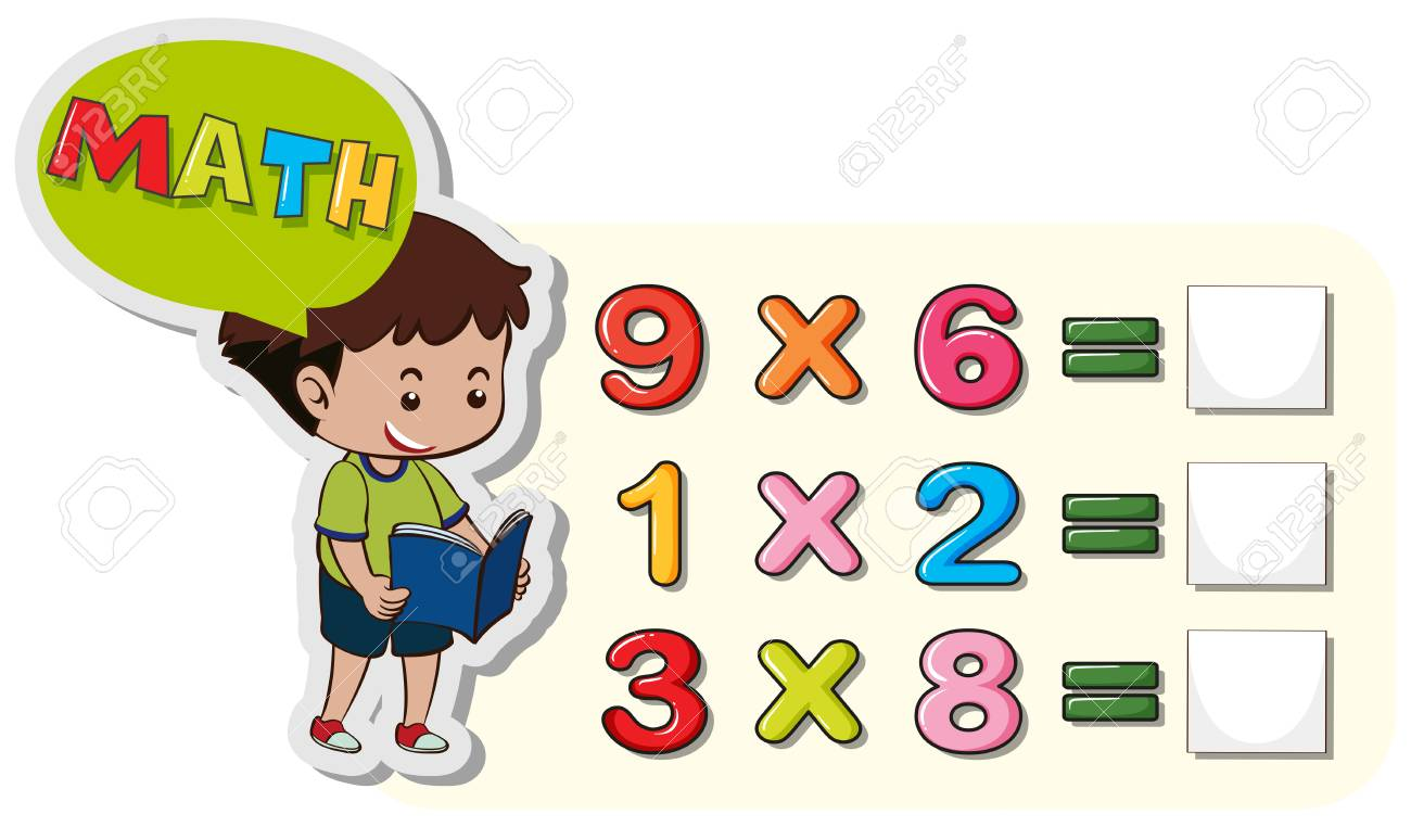 Math worksheet template with boy and multiplication problems..