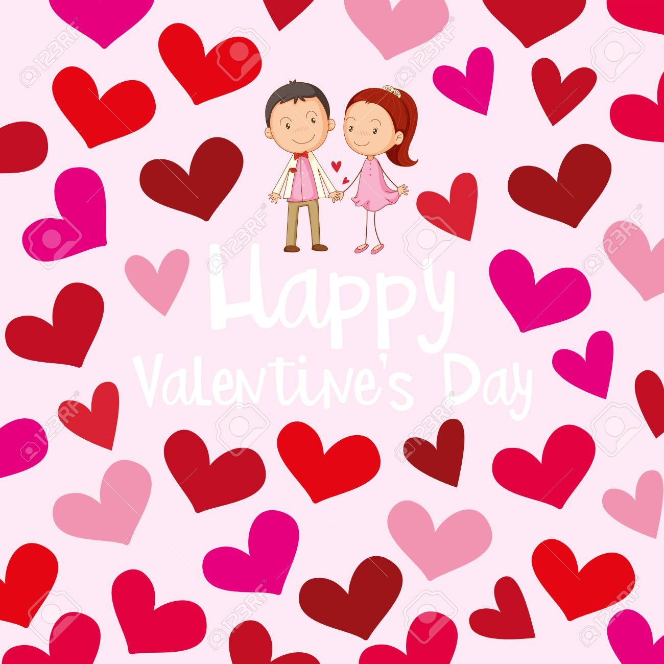 Happy Valentine Card Template With Love Couple Illustration Royalty