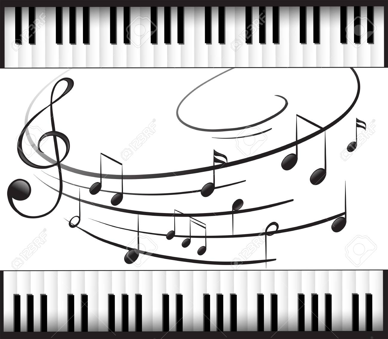 background template with piano keyboard and music notes illustration