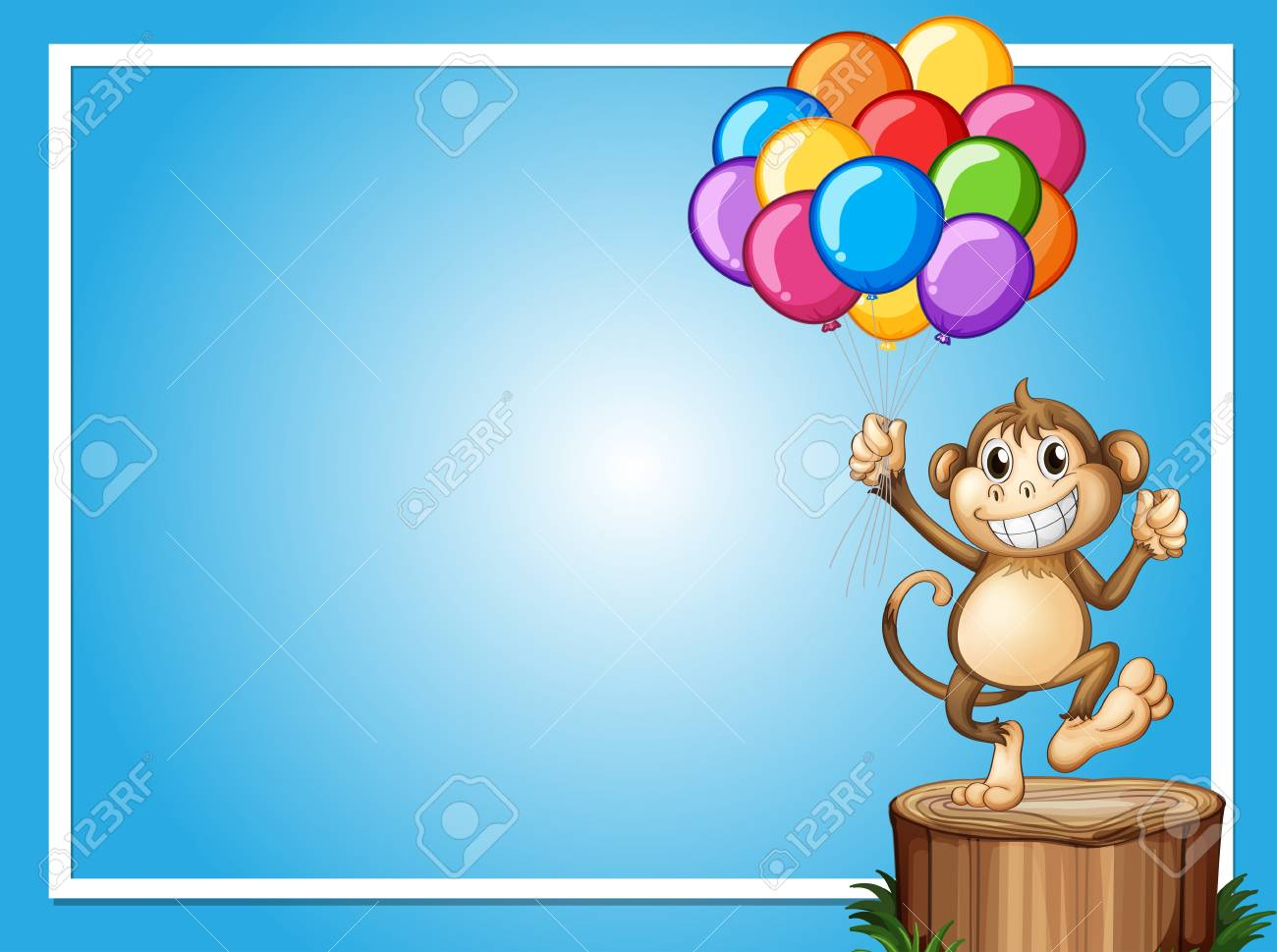 Border Template With Happy Monkey And Colorful Balloons Illustration ...