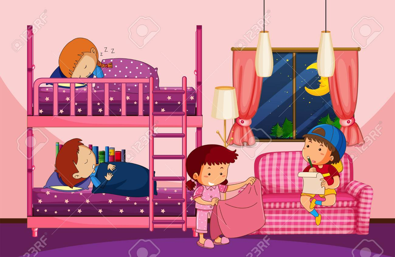 Four Children In Bedroom With Bunkbed Illustration Royalty Free