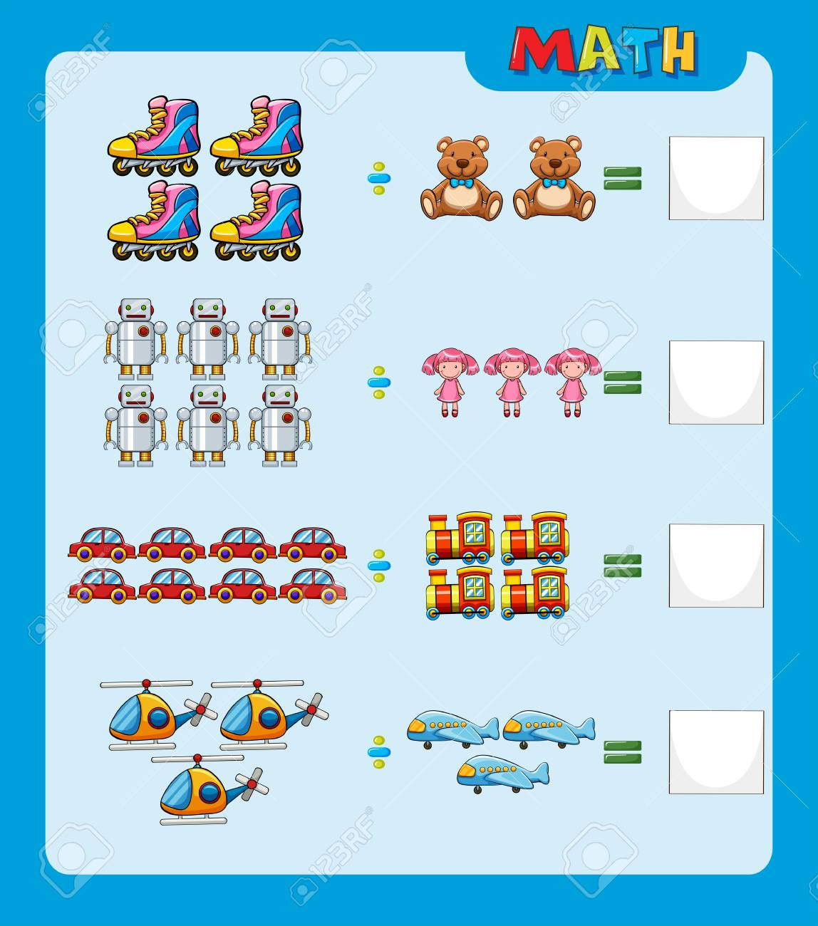 Math Worksheet With Division Questions Illustration Royalty Free ...