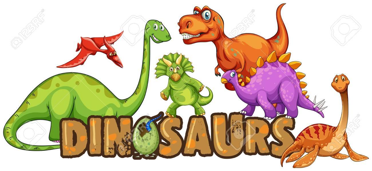 Word design for dinosaurs illustration - 98944905