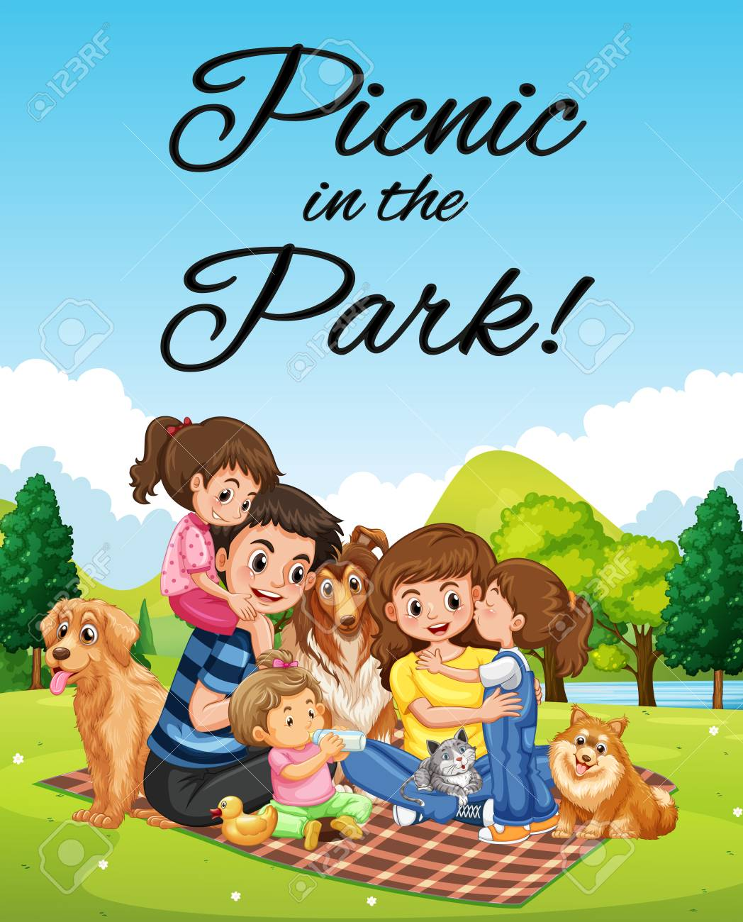Clip Art - Family picnic in nature. Stock Illustration gg99545716 - GoGraph