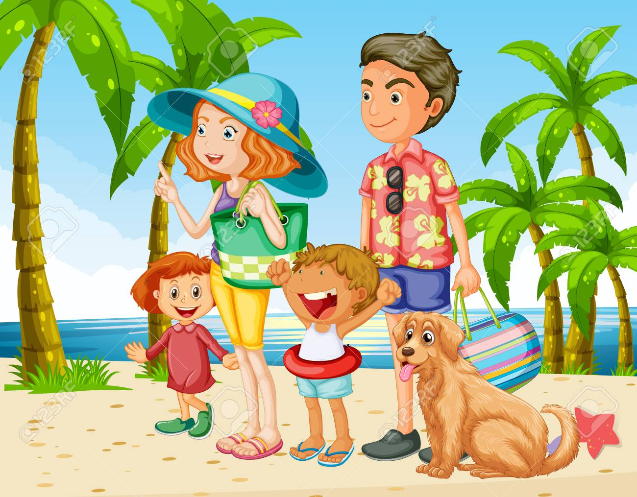 Summer Holiday With Family On The Beach Illustration Royalty Free