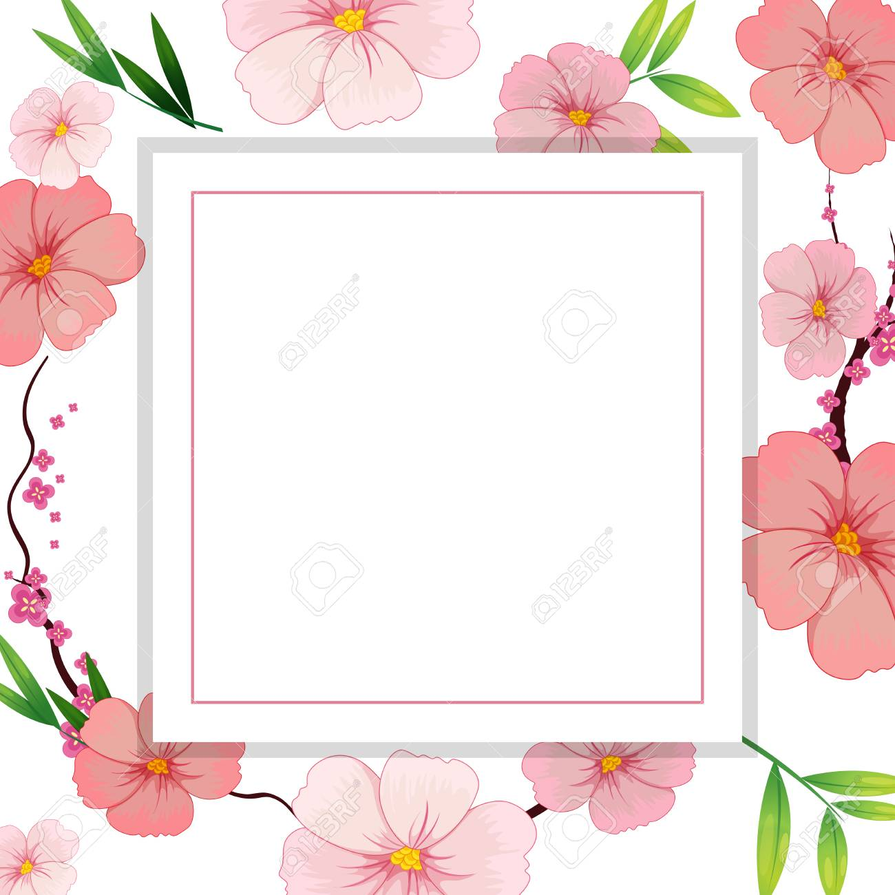 Beautiful Pink Hibiscus Flower Template Illustration Royalty Free
