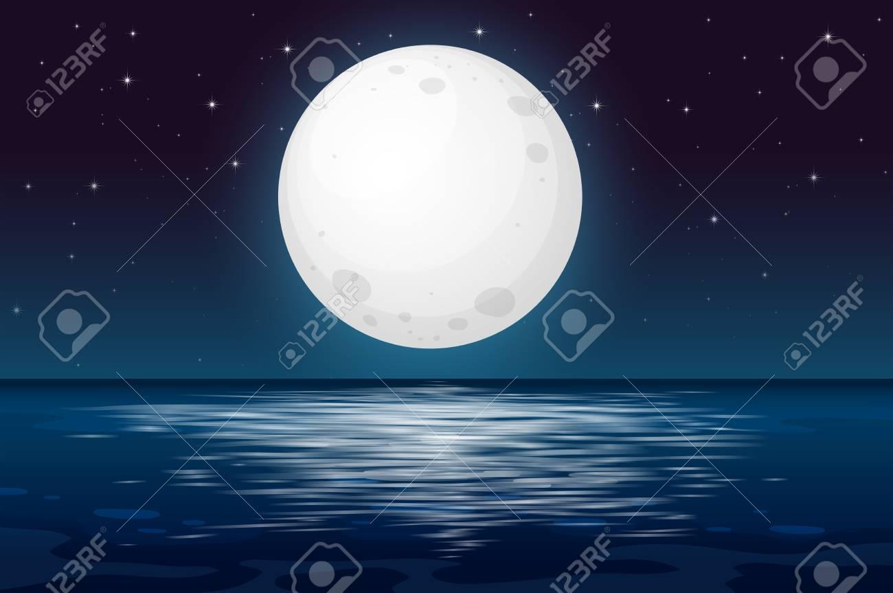 A Full Moon Night at the Ocean illustration - 101908984