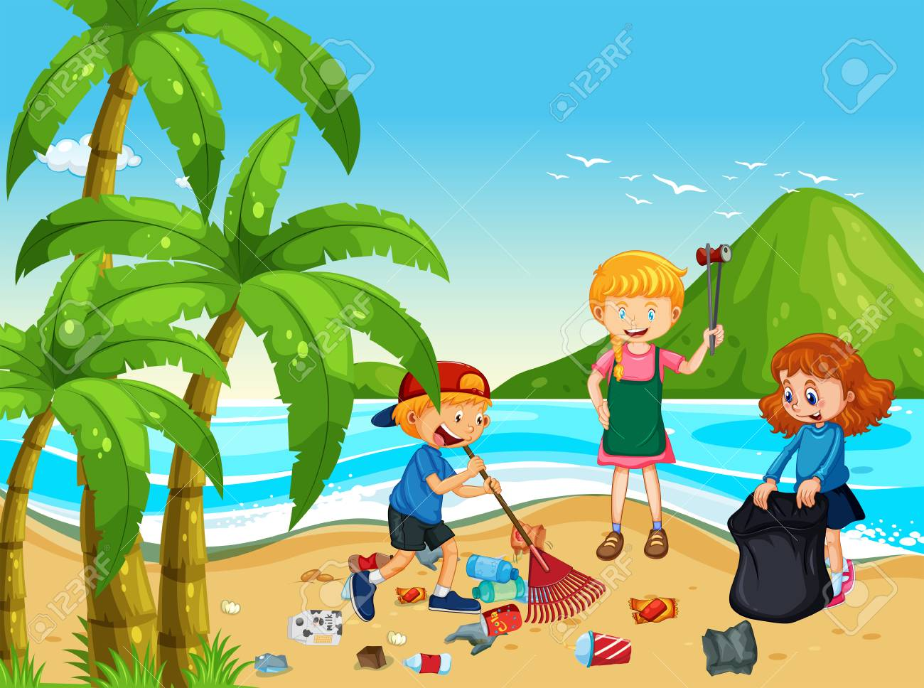 A Group of Volunteer Children Cleaning Beach illustration - 114980754