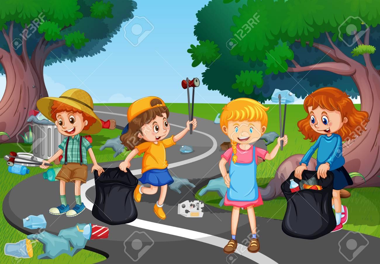 Kids volunteering cleaning up park illustration - 112163393