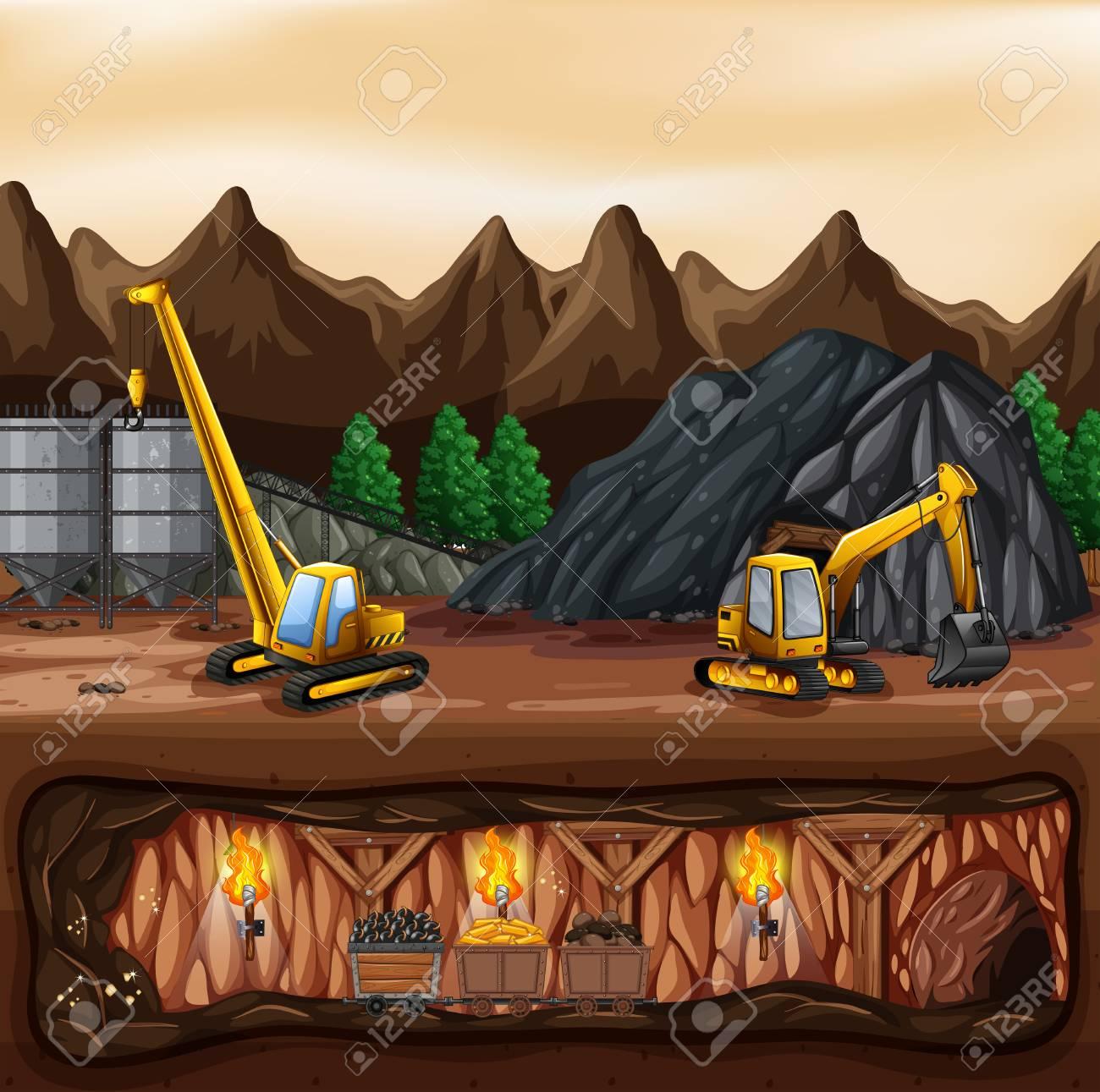 A coal mine landscape illustration - 106580964