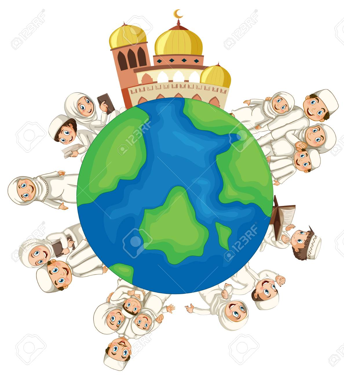 A Muslim People On The Globe Illustration Royalty Free Cliparts ...