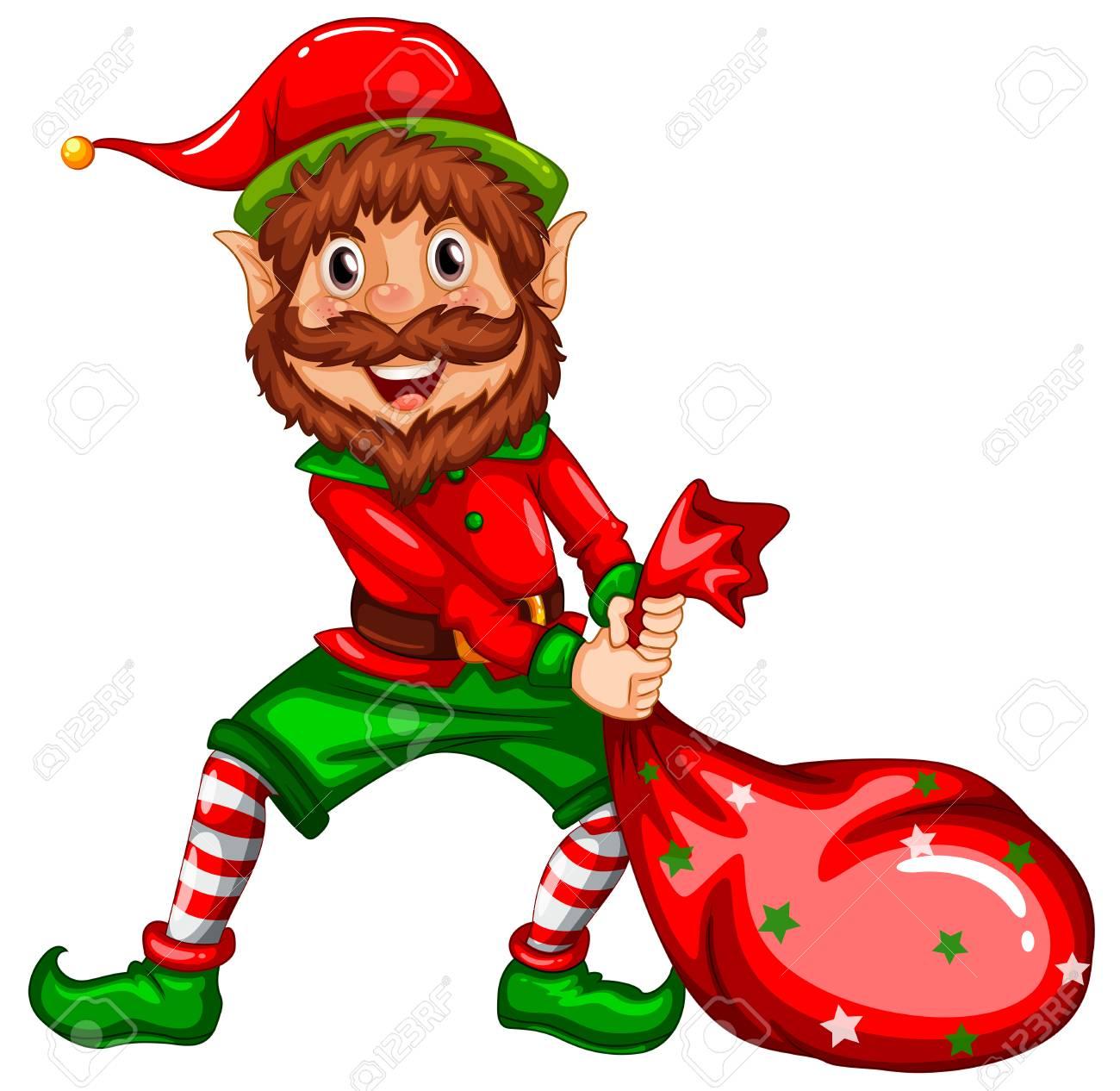Happy elf carry sack illustration - 109933049