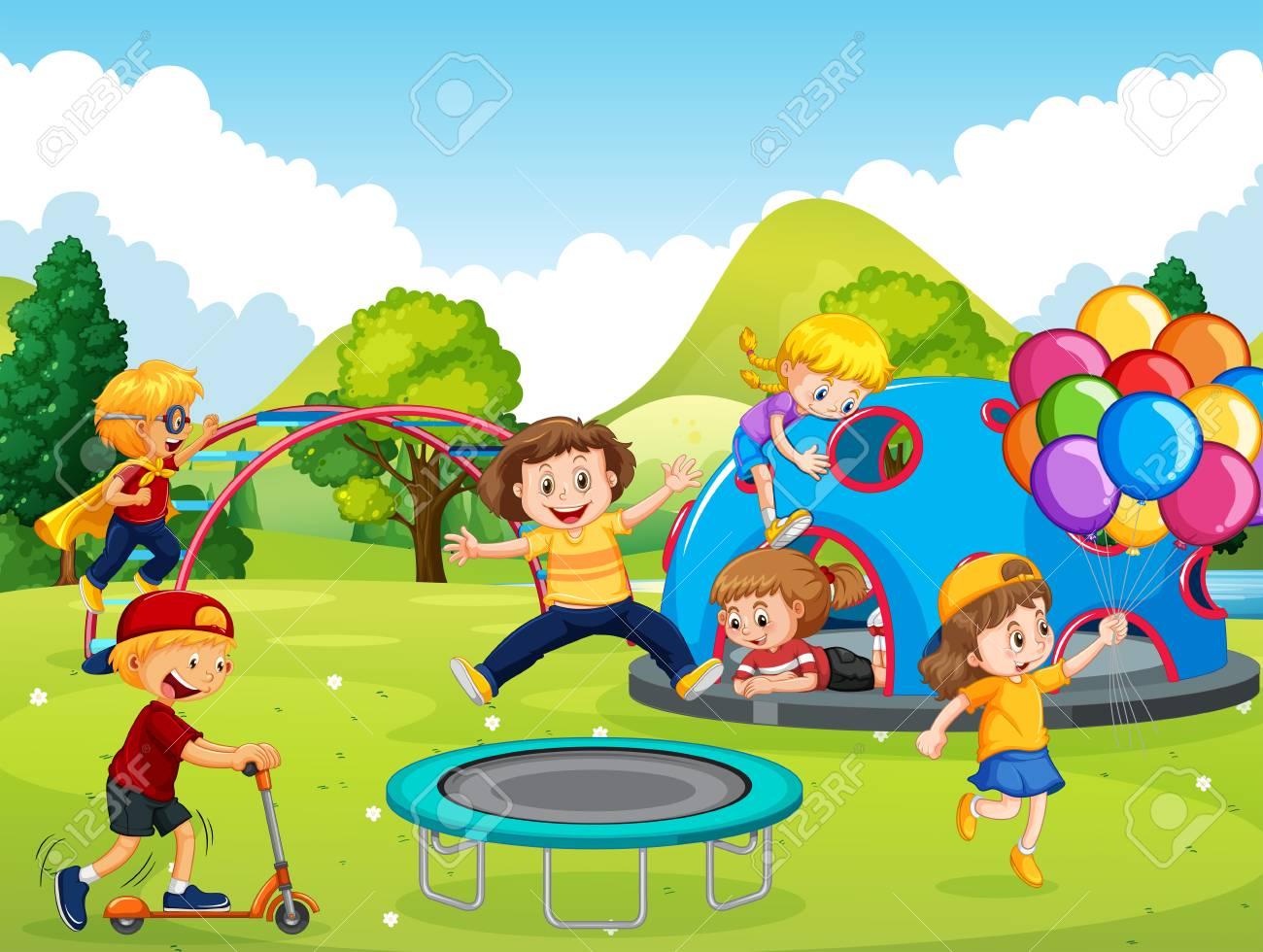 Kids playing in playground illustration - 121750656