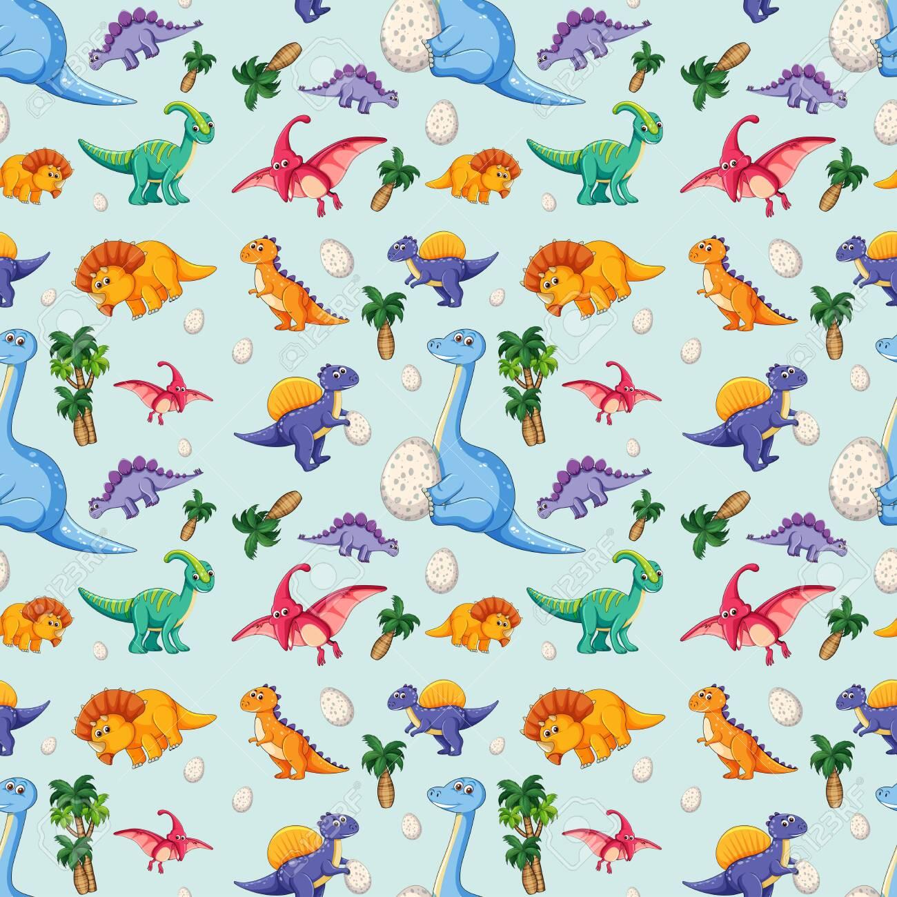 Dinosaur on seamless pattern illustration - 121751075