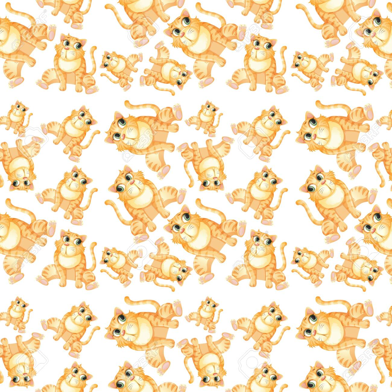 Yellow cat seamless pattern illustration - 121751082
