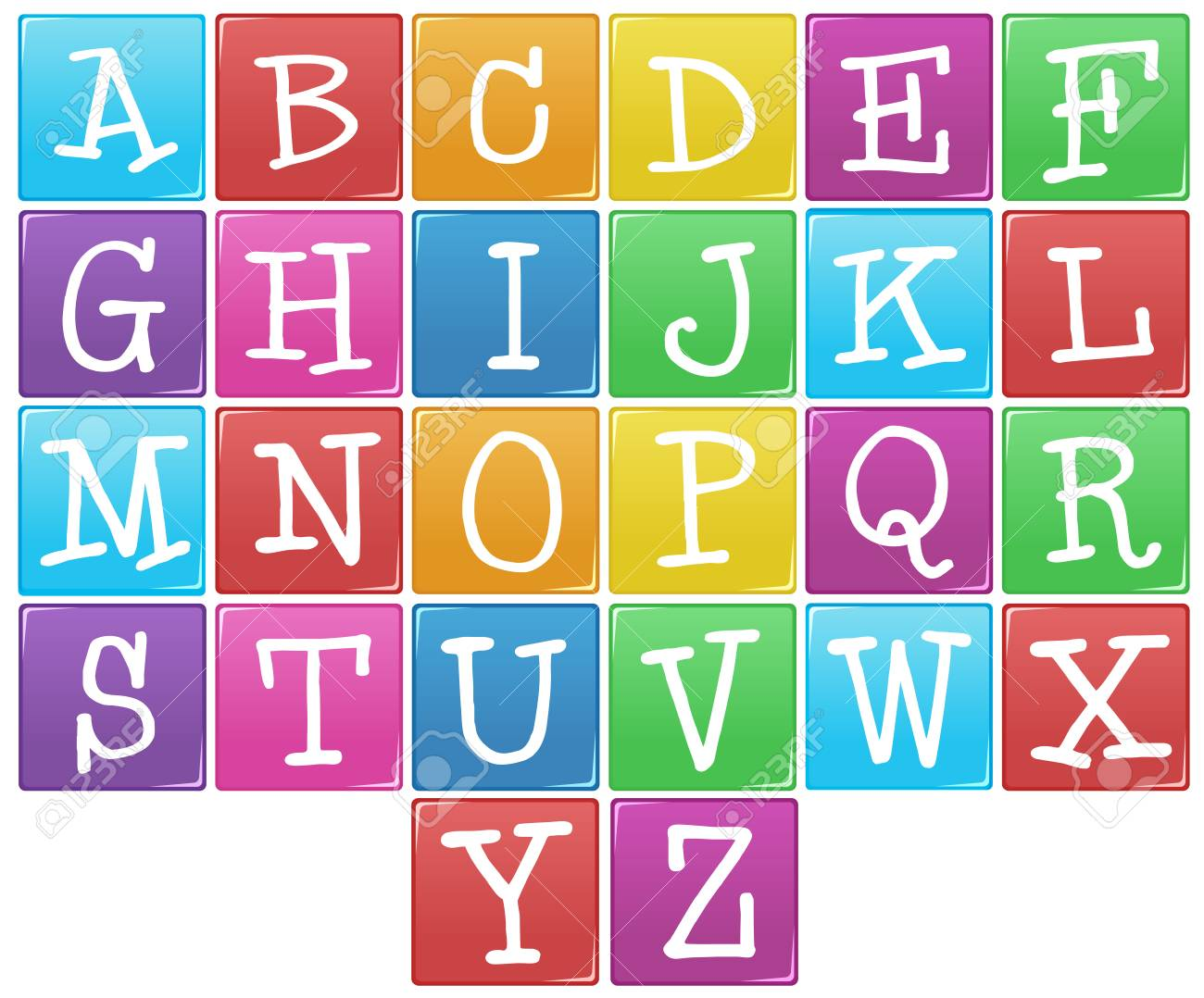 English alphabet from a to z illustration