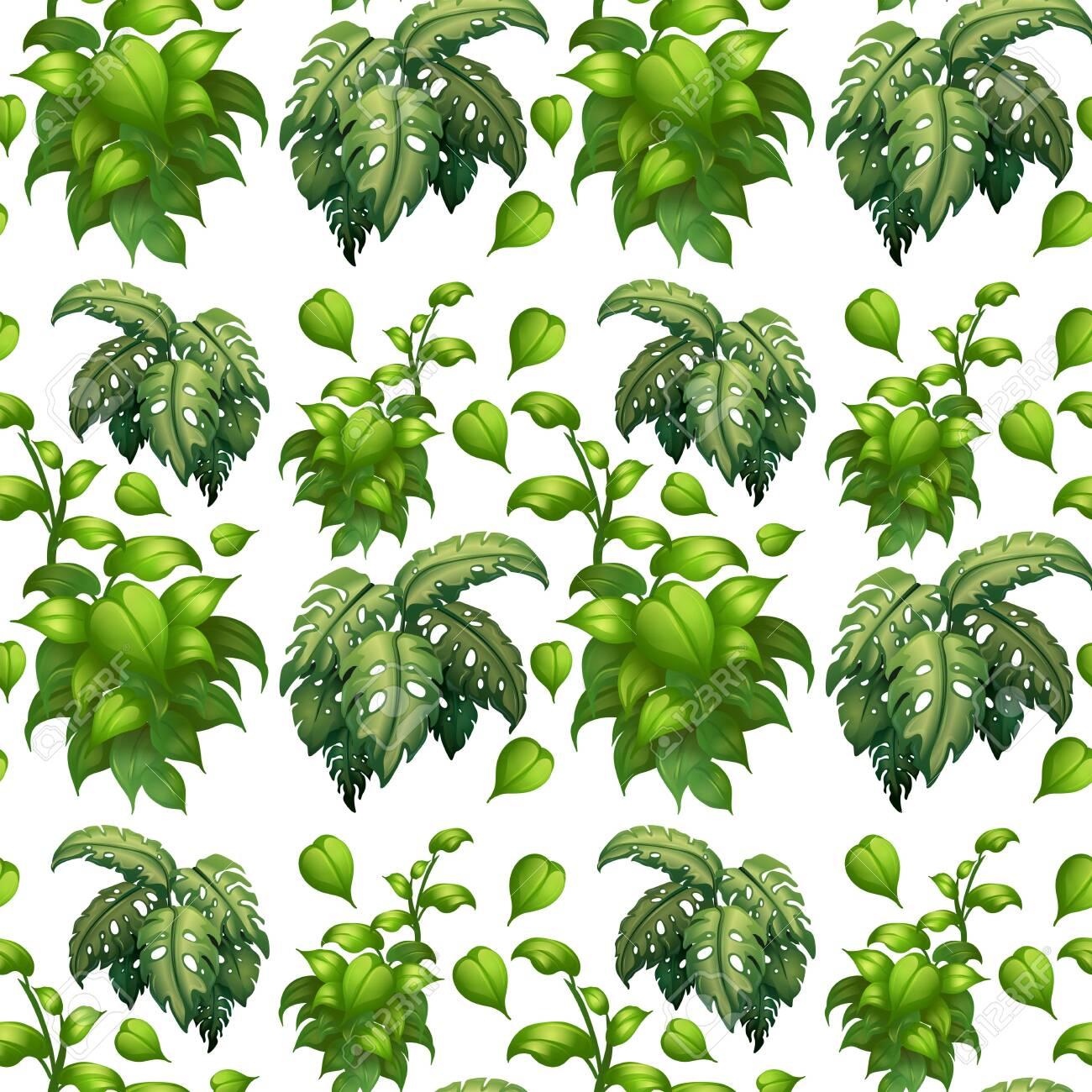Green leaf seamless pattern illustration - 121751198