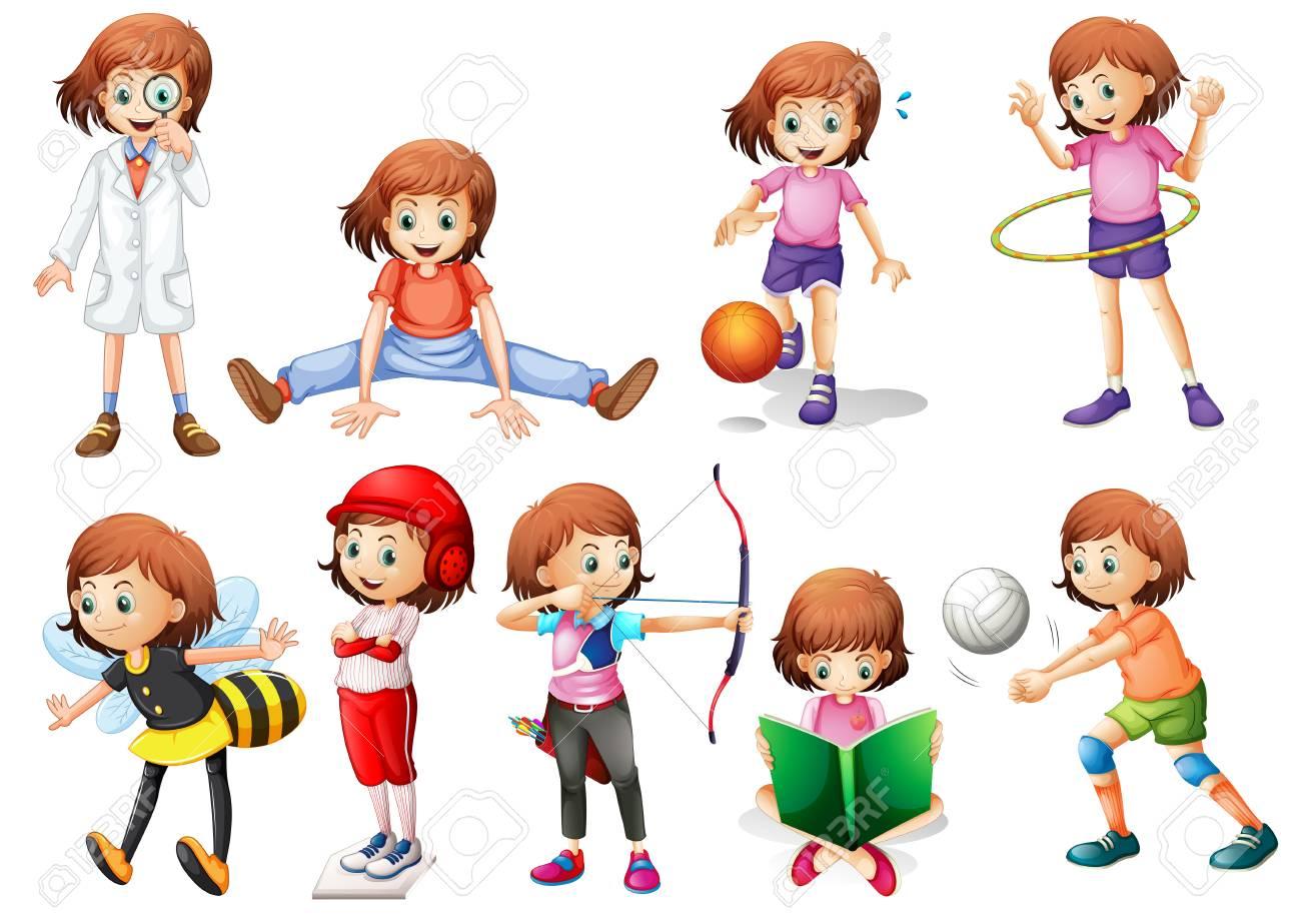 Set of girl activity illustration - 121751211