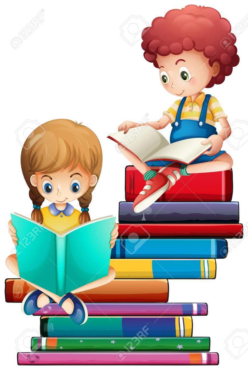 Children with books on white background illustration - 121751445