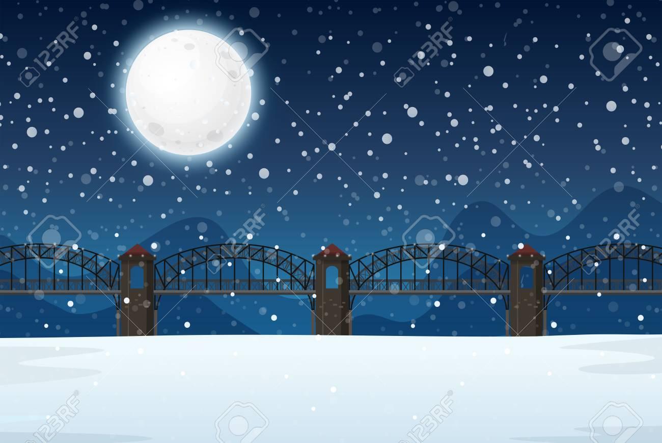 A winter night landscape illustration - 121751470