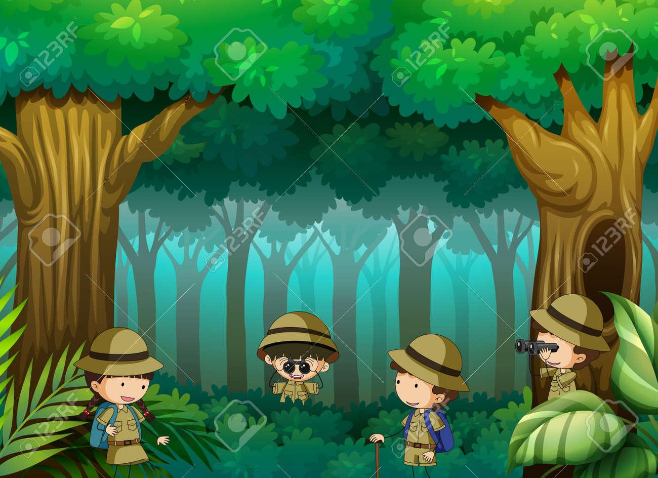 Children exploring the forest illustration - 121751473