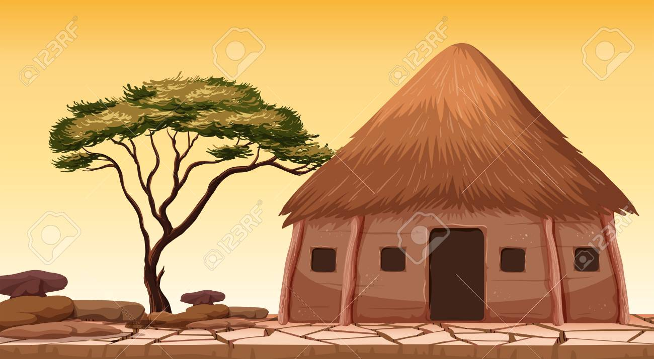 A traditional hut at desert illustration - 121751777