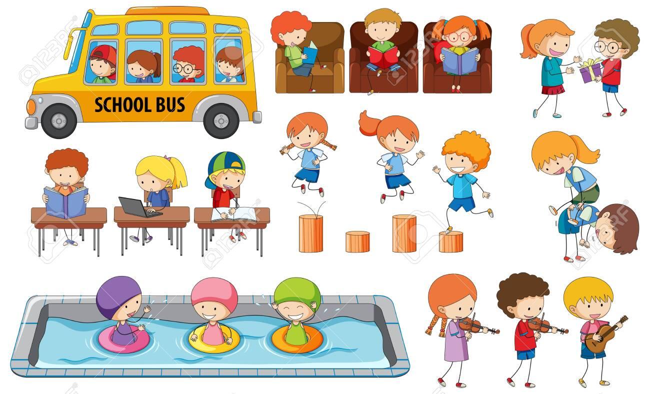 Set of student activity illustration - 121751939