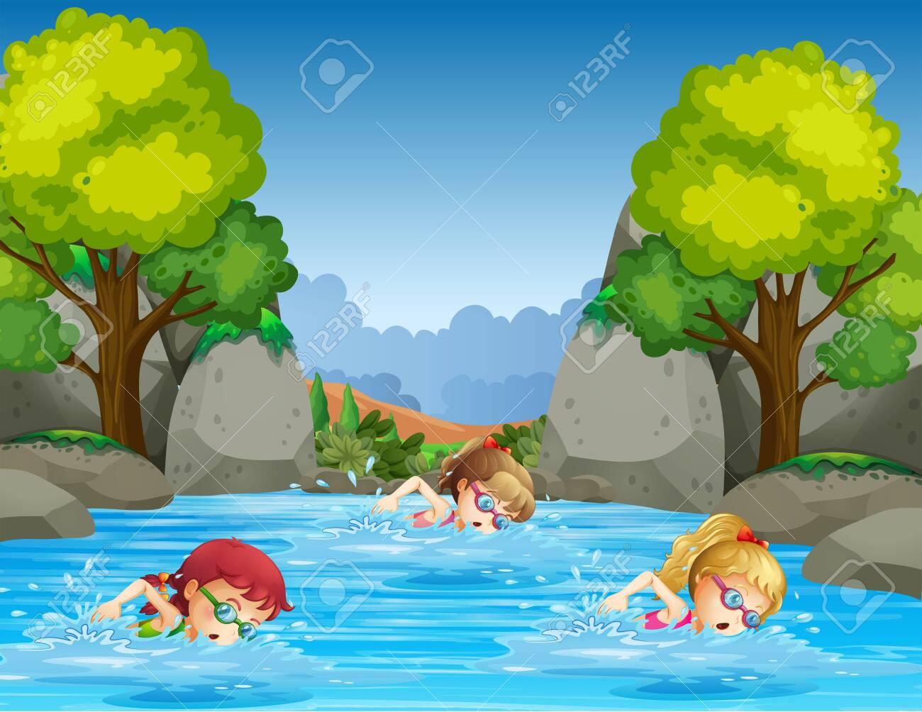 Children swimming in nature illustration - 121487587