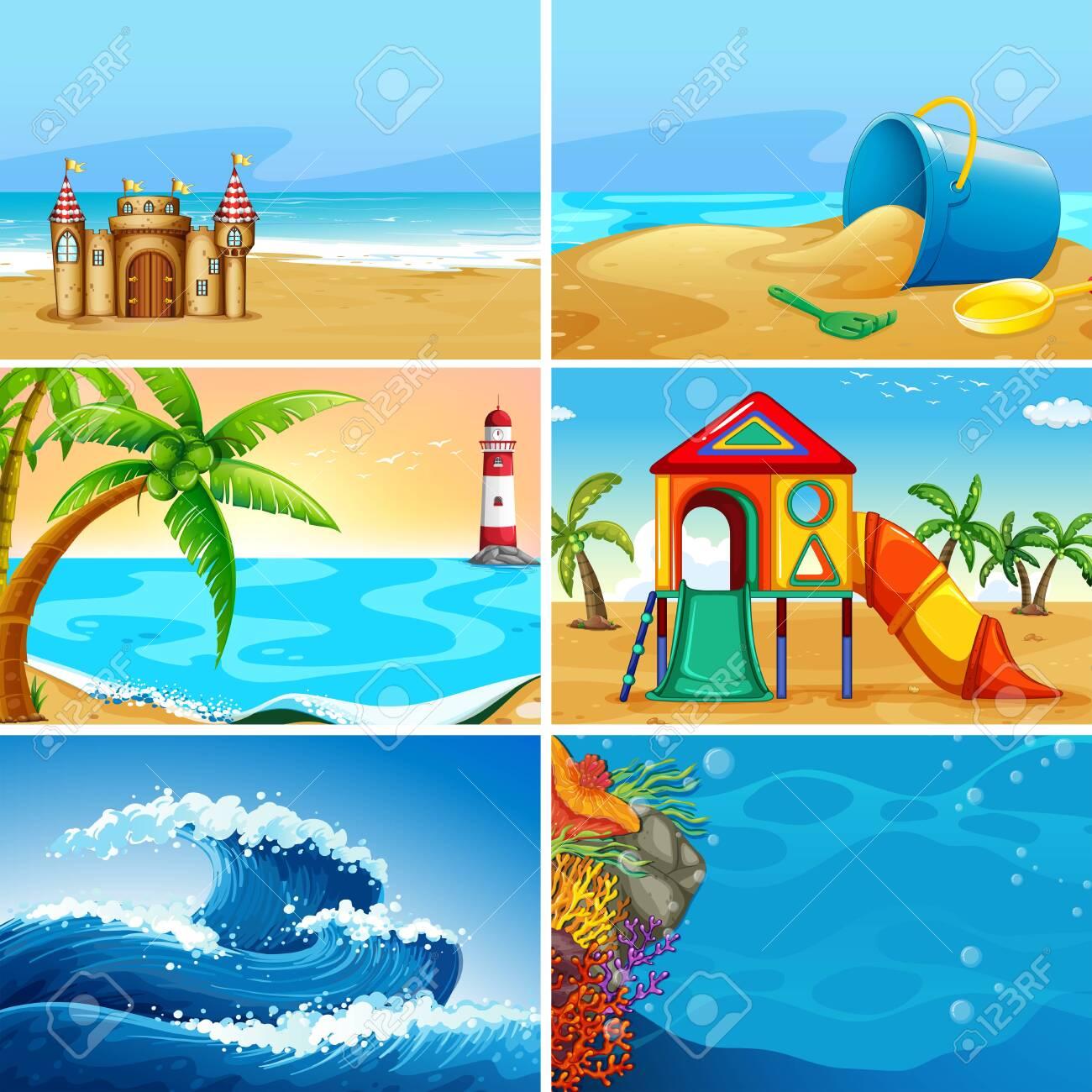Set of summer beach landscape illustration - 122512096