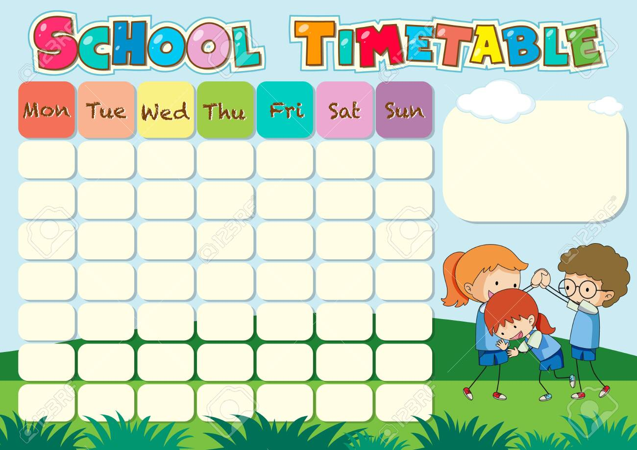 School Timetable Template With Kids Playing Illustration Royalty ...