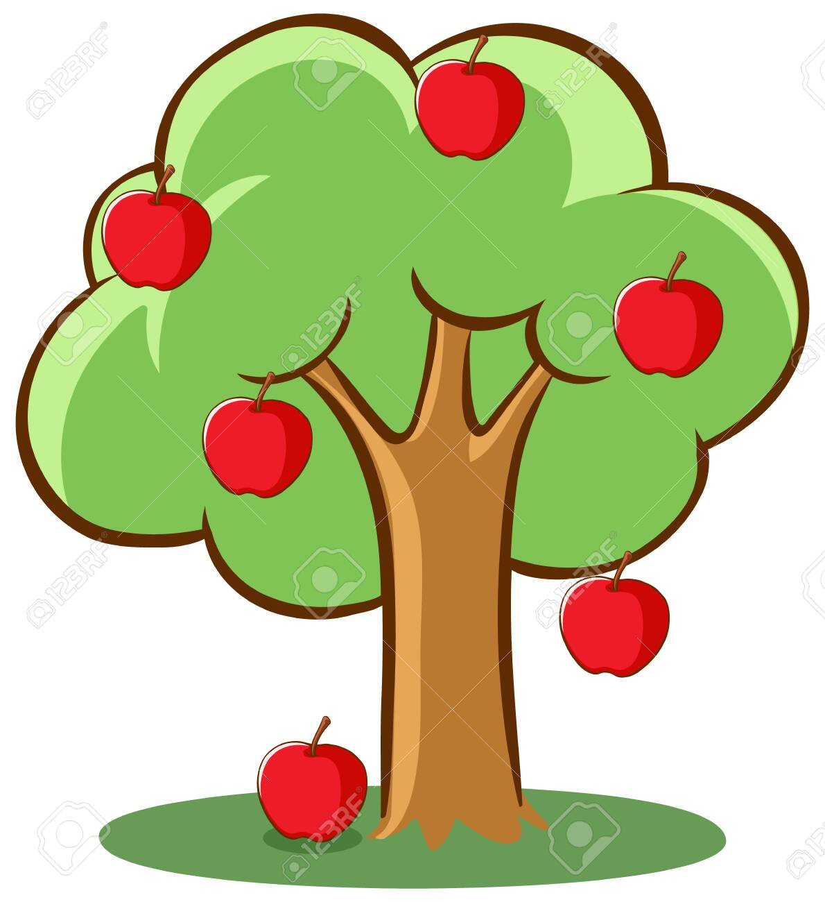 Apple Tree On White Background Illustration Royalty Free Cliparts Vectors And Stock Illustration Image 134686793
