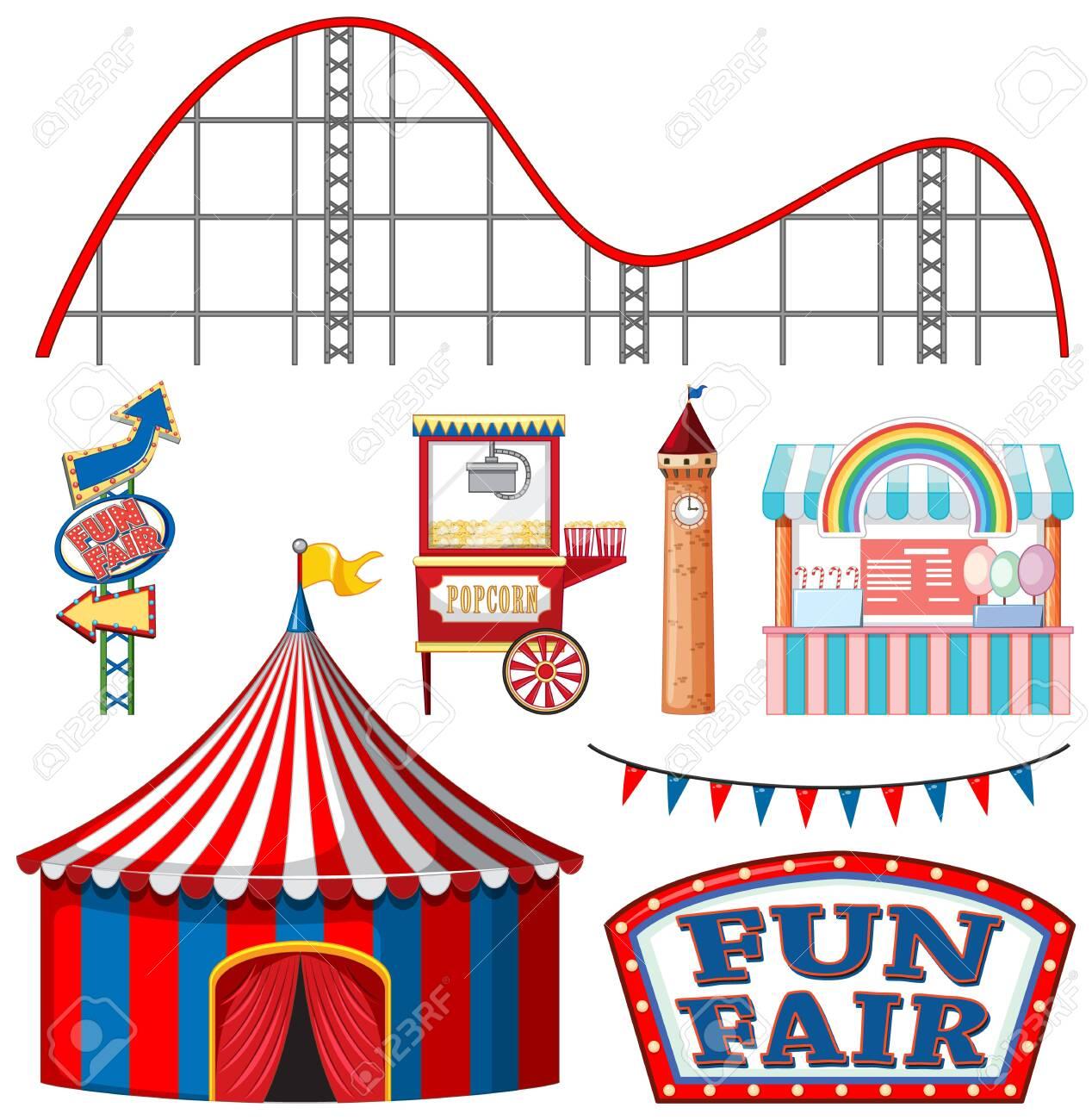 Set of circus items on white background illustration - 137931150
