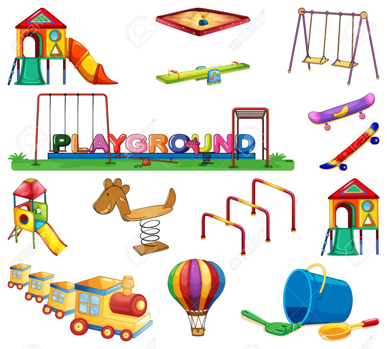 Large set of many play stations in the playground illustration - 144508884
