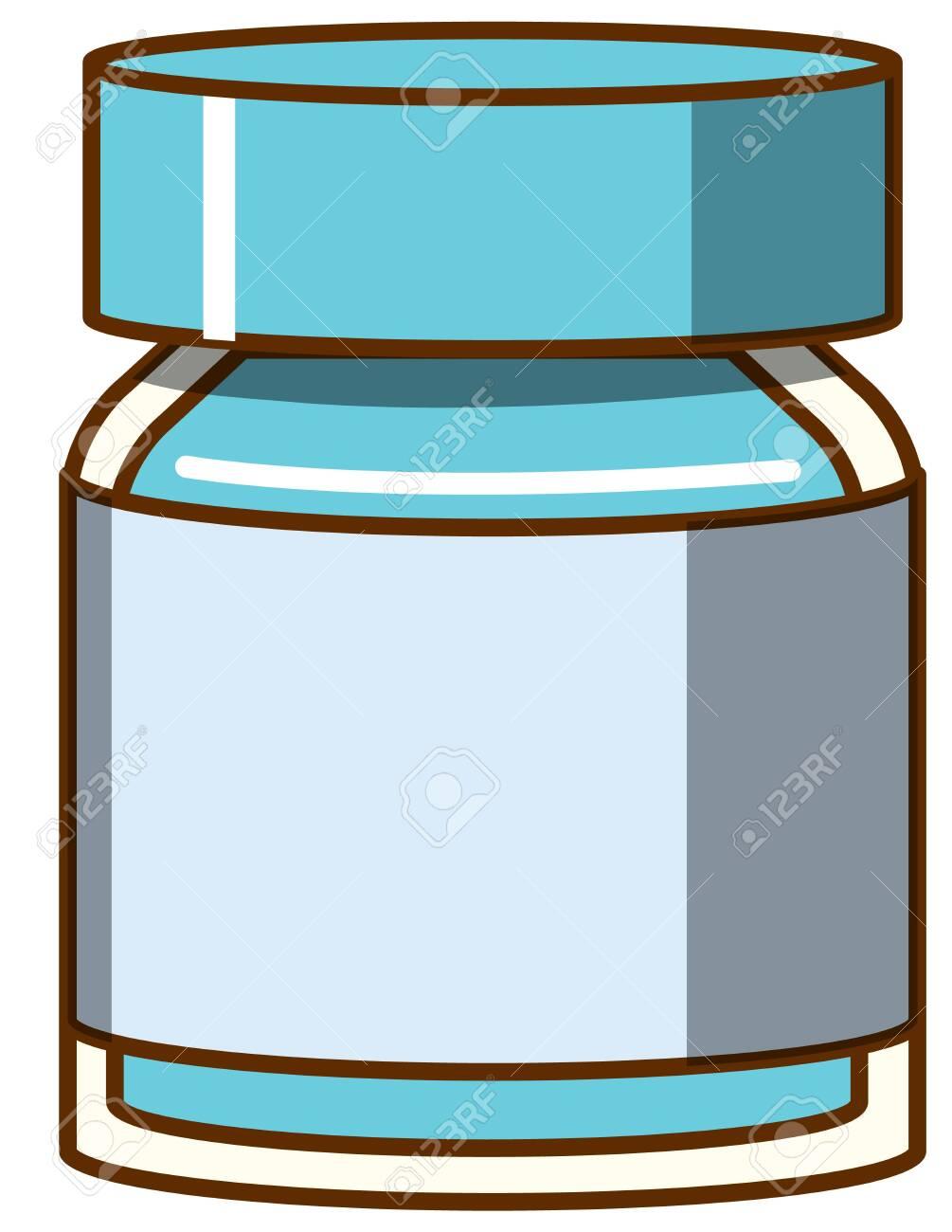 Blue watercolor in bottle on white background illustration - 147784170