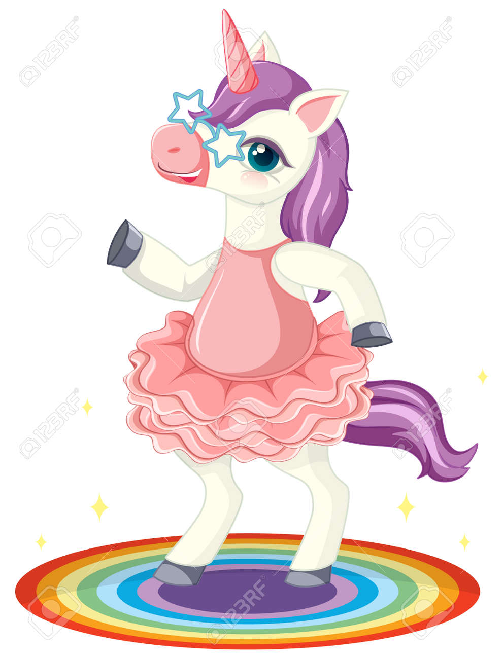 Cute purple unicorn wearing star glasses in standing on rianbow position on white background illustration - 148629543