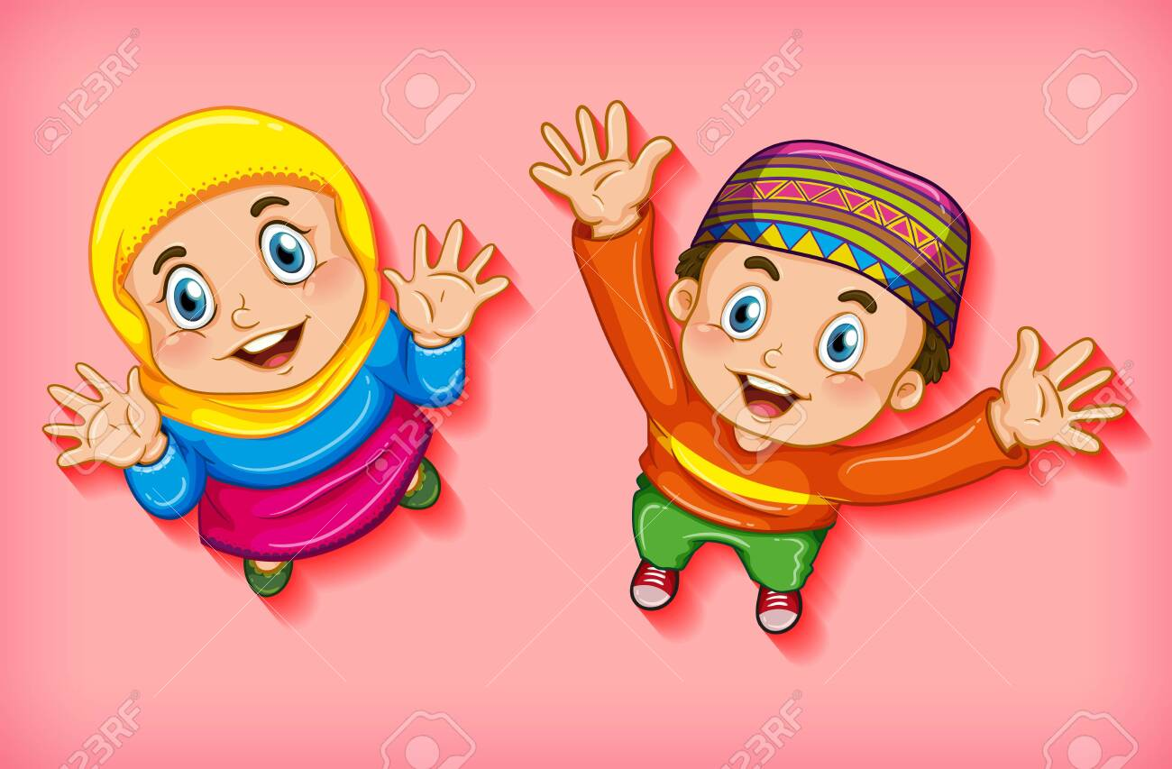 Happy muslim children from aerial view illustration - 155186589