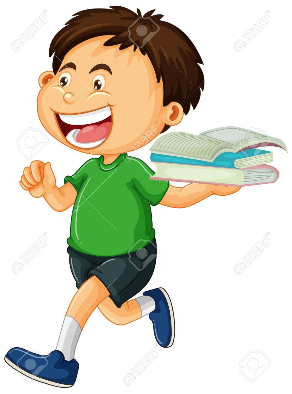 Happy boy holding books isolated illustration - 159381401