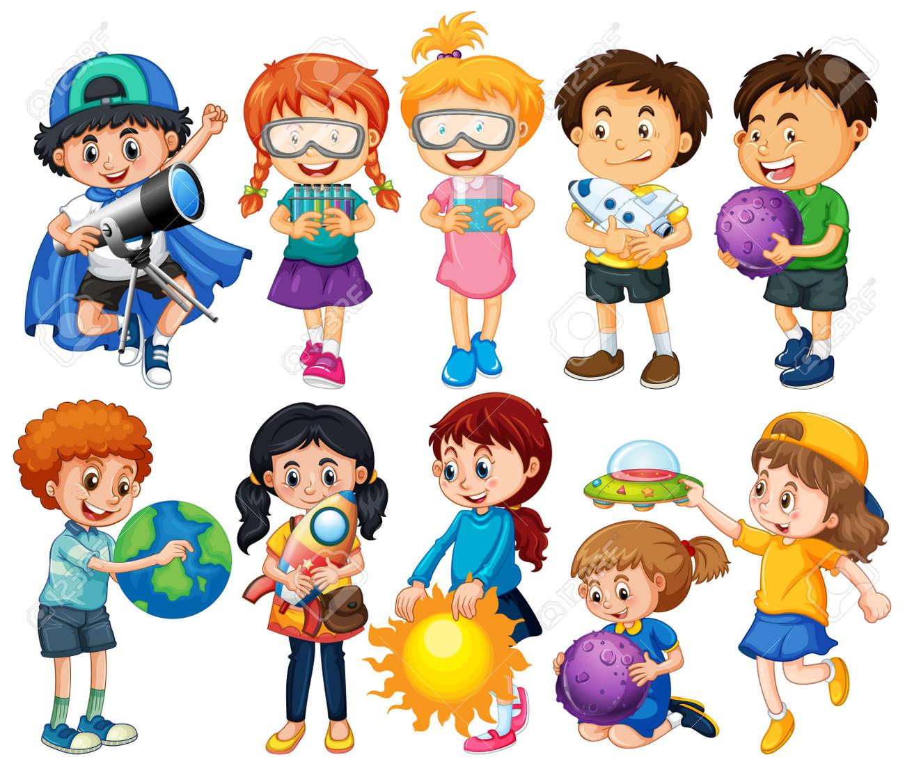 Group of children cartoon character illustration - 159386511
